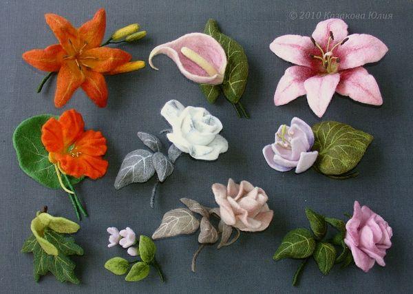 Комментарий: Валяние из шерсти.  Украшения, цветы.